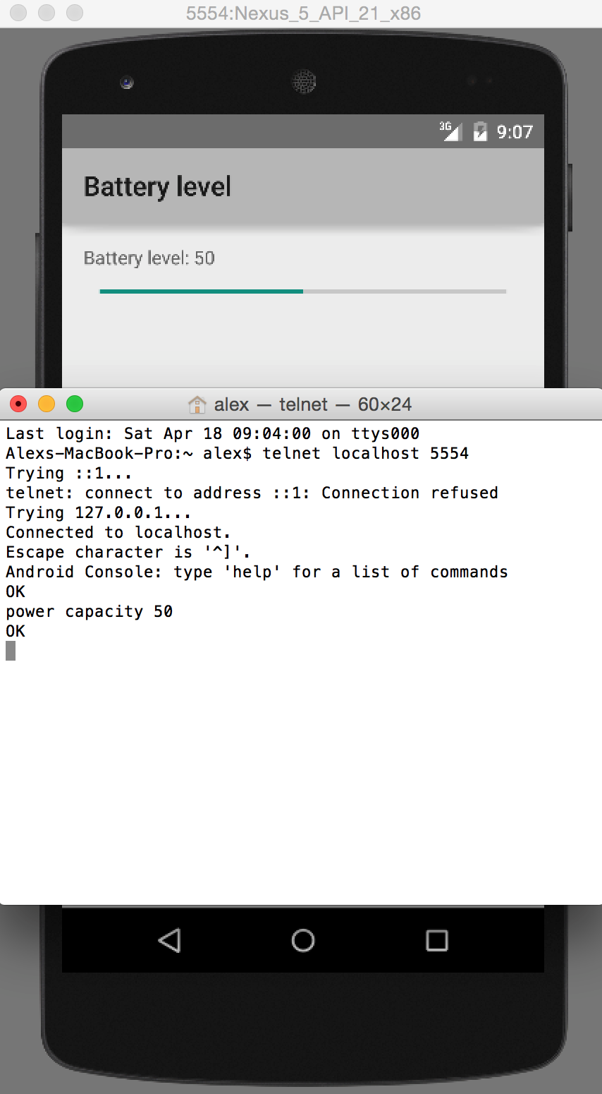 Changed battery level to 50% via terminal